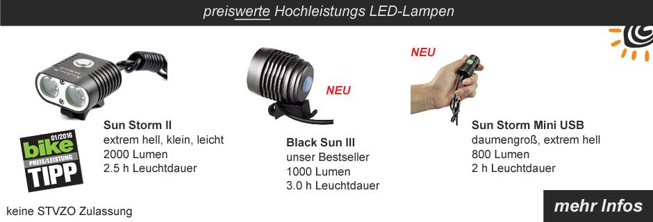 Hochleistungs LED Lampen Black Sun Sun Storm II Sun Storm Mini